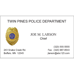 embossed foil police badge - Police Business Cards